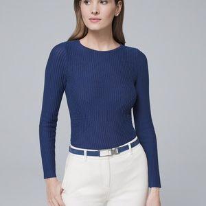 {WHBM} Blue Ribbed Textured Crewneck Sweater